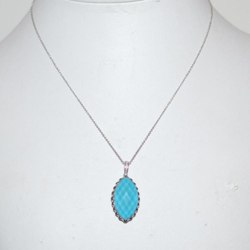 Turquoise, white topaz and diamond necklace
