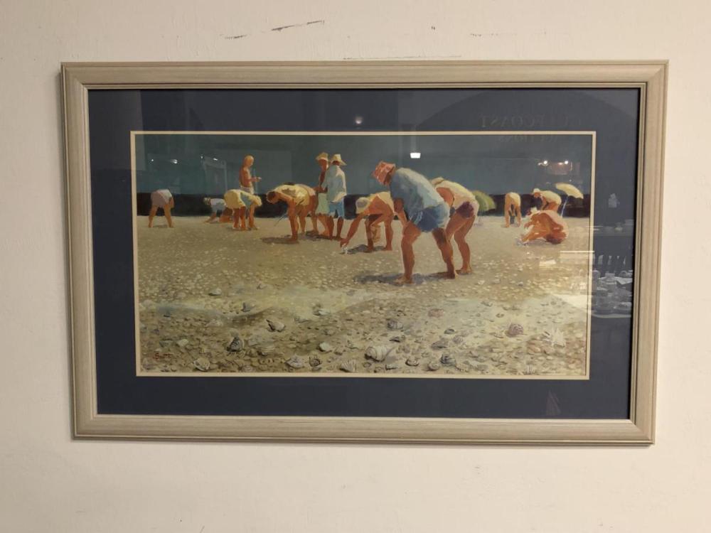 Sanibel Stoop Beach Scene Framed Litho by Santa
