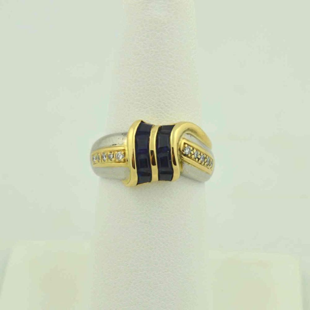 Platinum & 18kt Sapphire Diamond Ring
