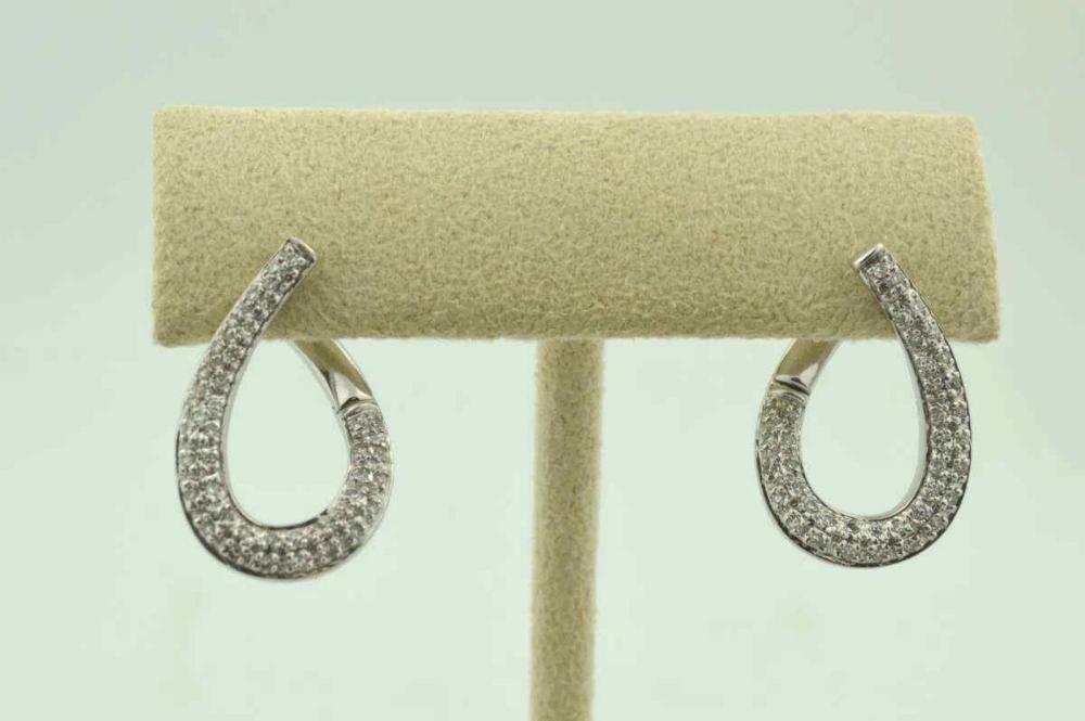 14kt white gold diamond teardrop hoop earrings