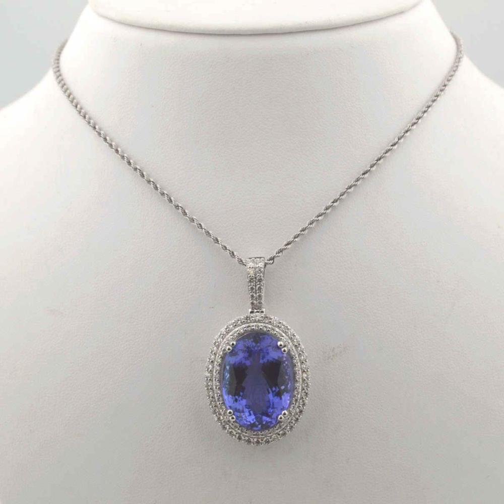 Platinum Tanzanite and diamond pendant