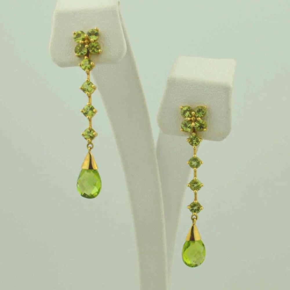 14kt yellow gold peridot drop earrings