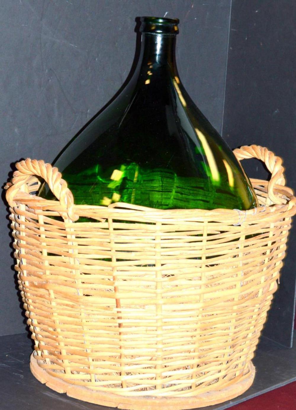 Large Vintage Green Glass Demijohn or Wine Bottle