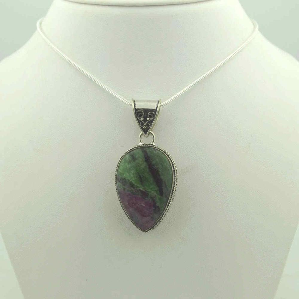 Sterling Silver Ruby Zoisite pendant
