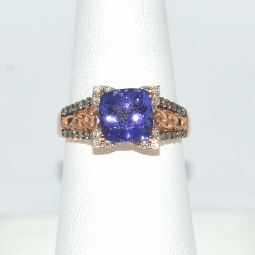 14kt rose gold LeVian tanzanite and diamond ring