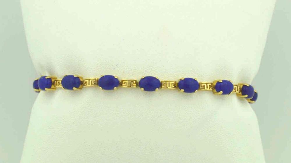 14kt yellow gold lapis lazuli bracelet