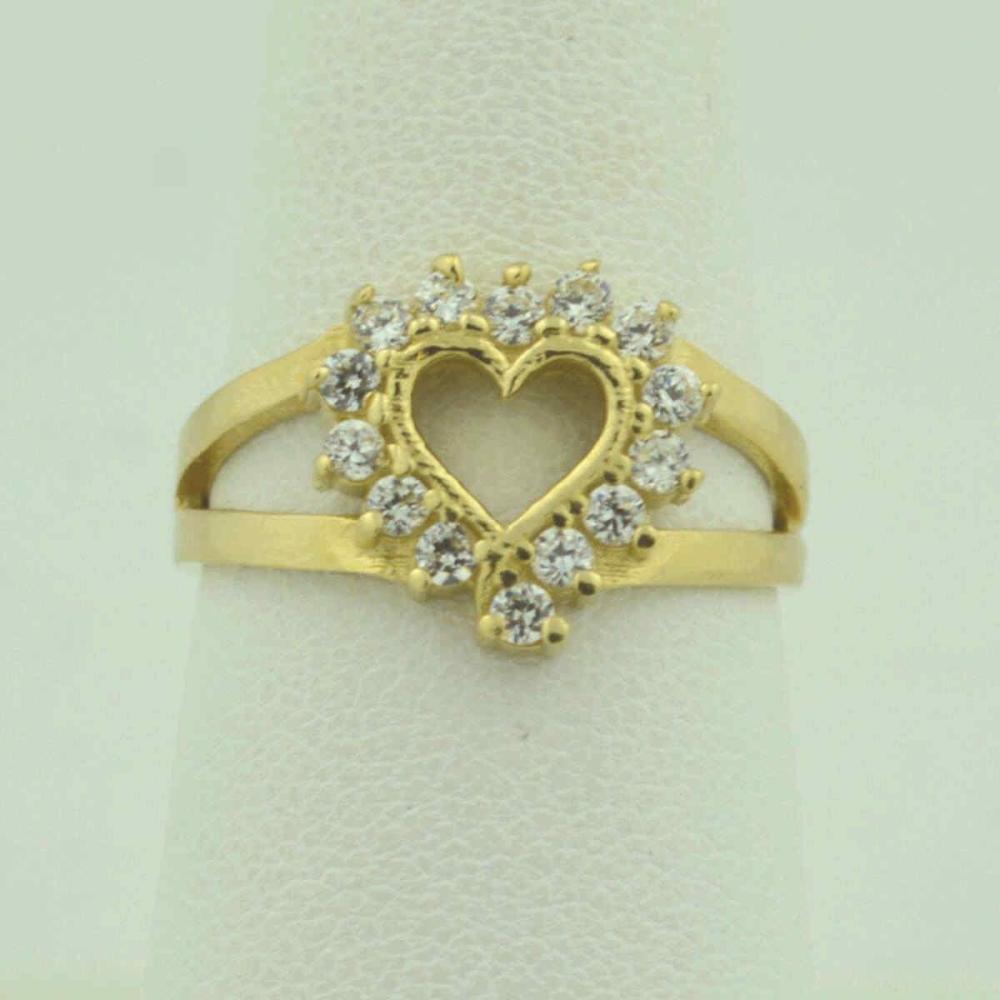 14kt yellow gold diamond heart ring