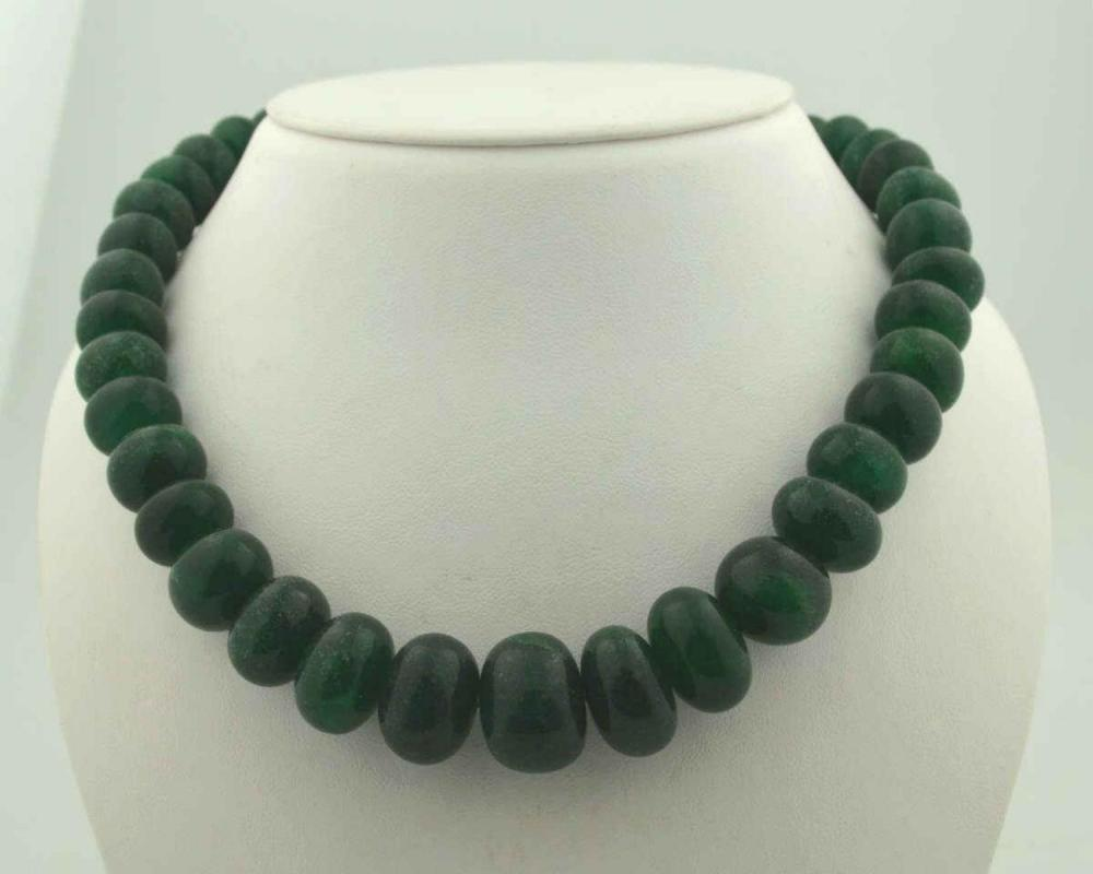 610ct opaque emerald bead necklace