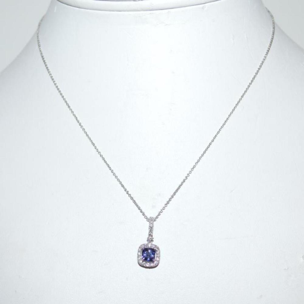 14kt white gold Tanzanite and diamond necklace
