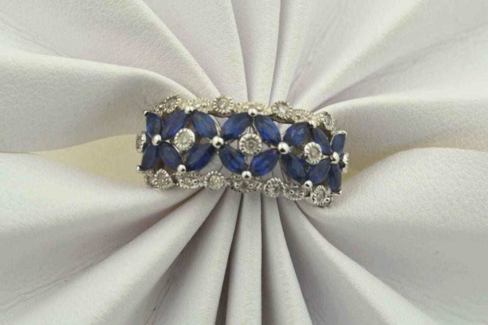 18kt white gold sapphire and diamond band