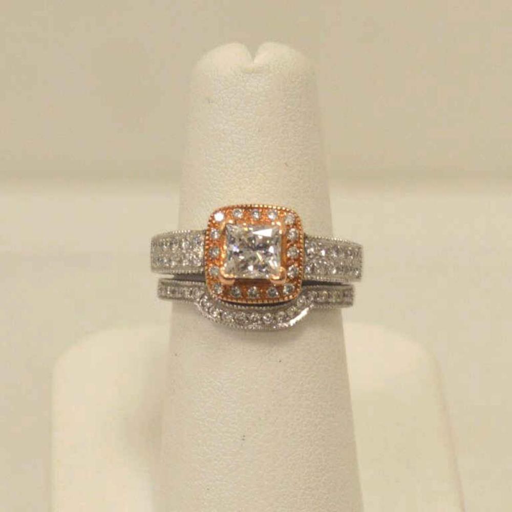 14kt two tone diamond wedding set