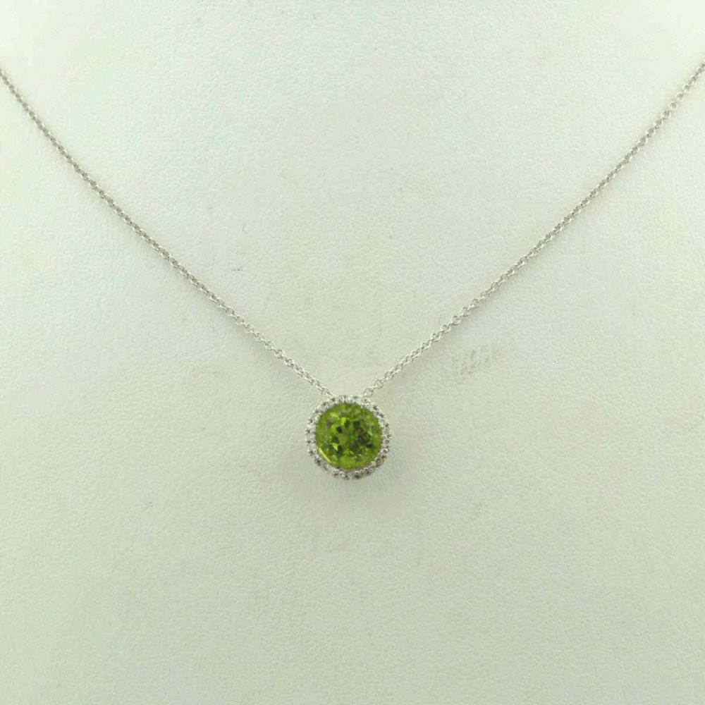 14kt white gold peridot and diamond pendant