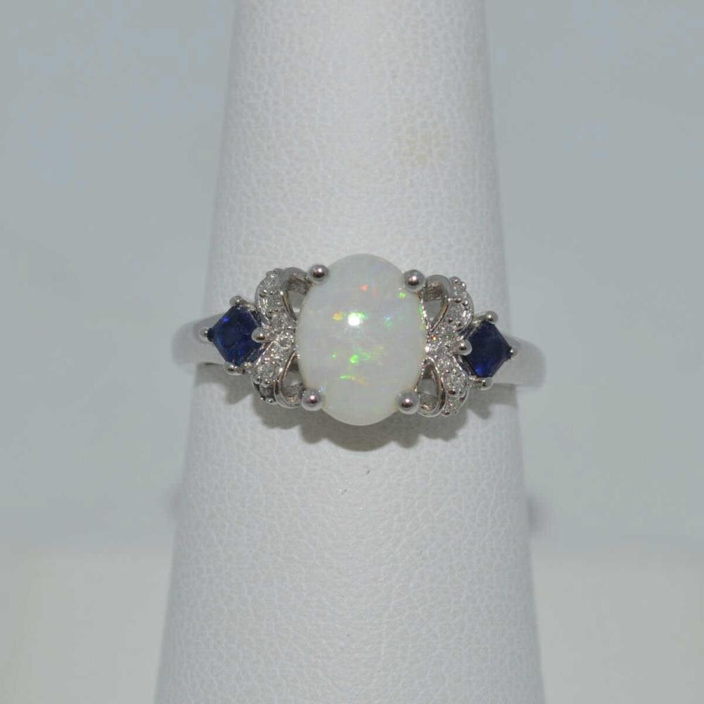 14kt white gold opal and sapphire ring