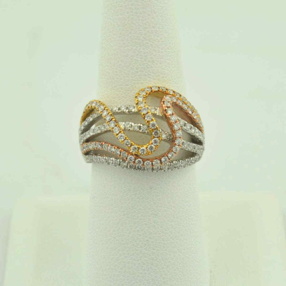 18kt tri-color diamond fashion ring
