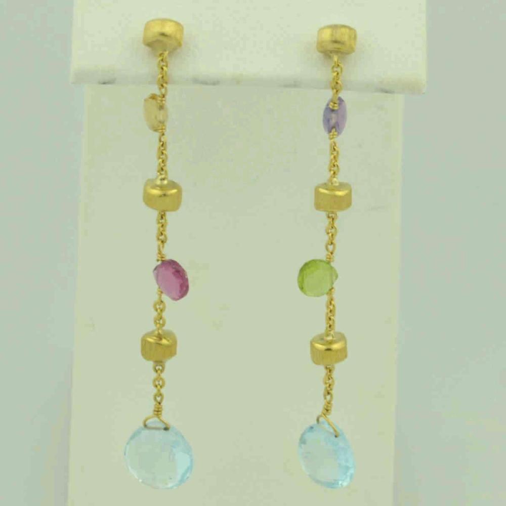 18kt yellow gold semi-precious stone drop earrings
