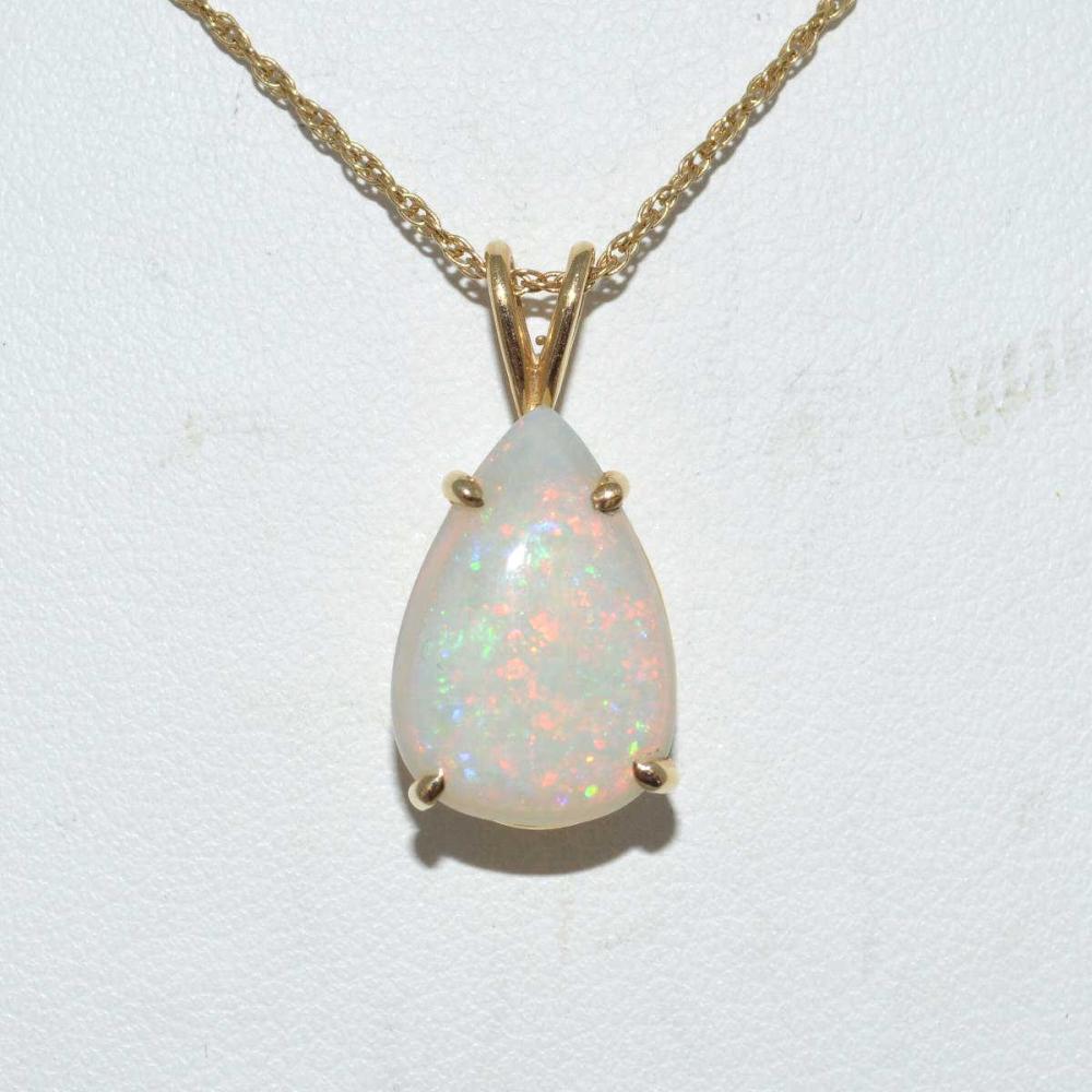 14kt yellow gold opal pendant