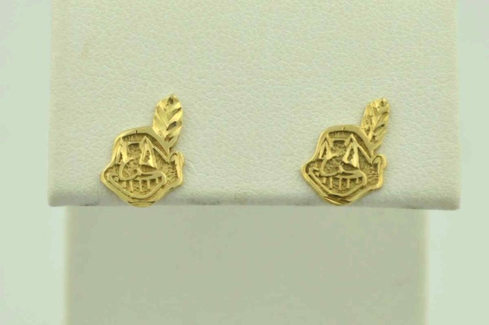 14kt yellow gold Cleveland Indians logo studs