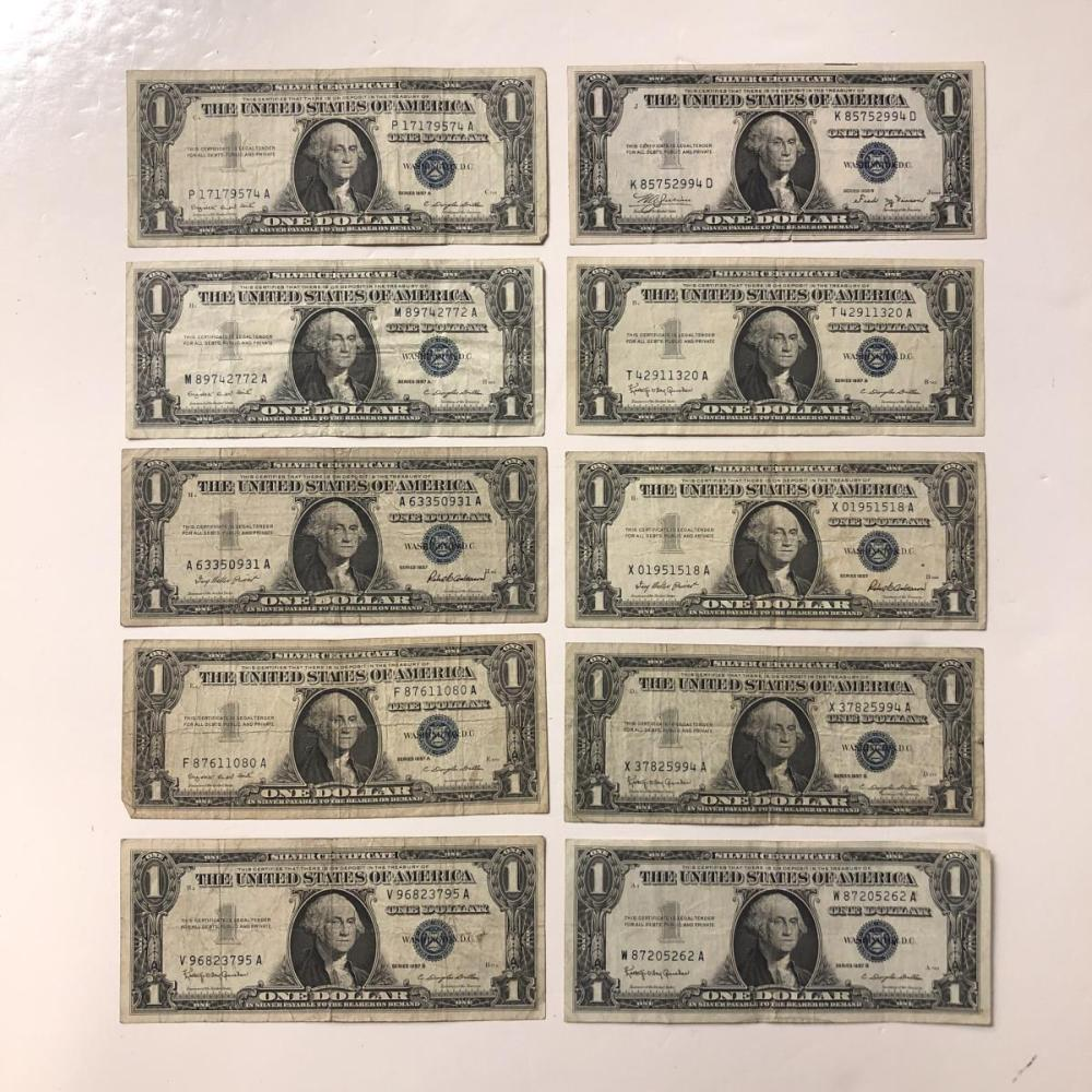 Lot of 10 Blue Seal Silver Certificates Circ.