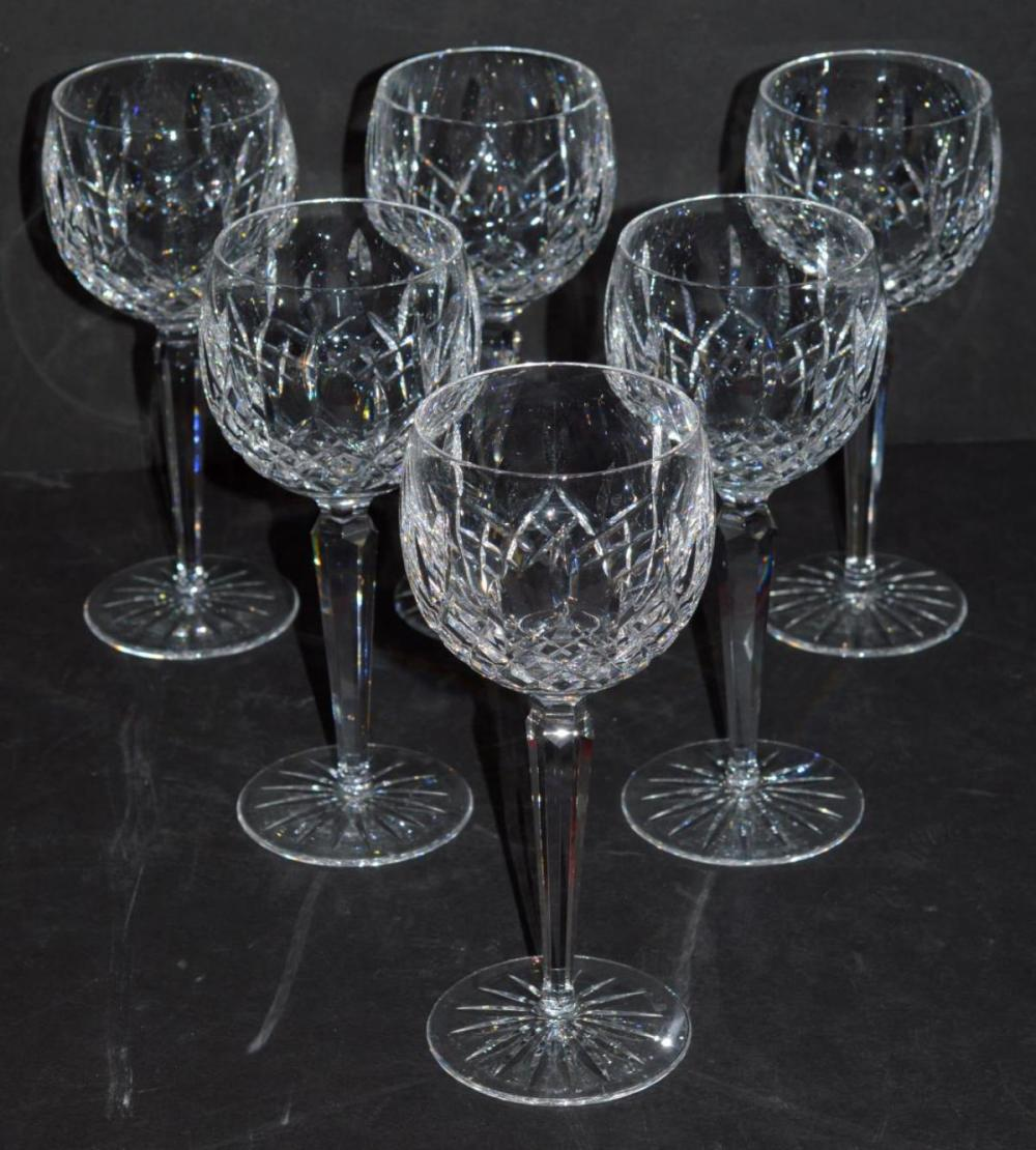 Set of 6 Waterford Lismore Balloon Wine Glasses