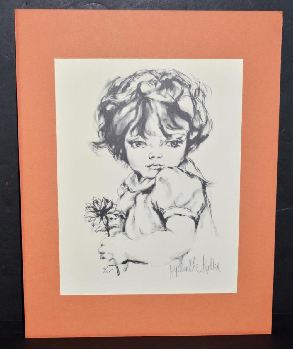 Hyacinthe Kuller-Baron Signed Girl w/Flower Litho