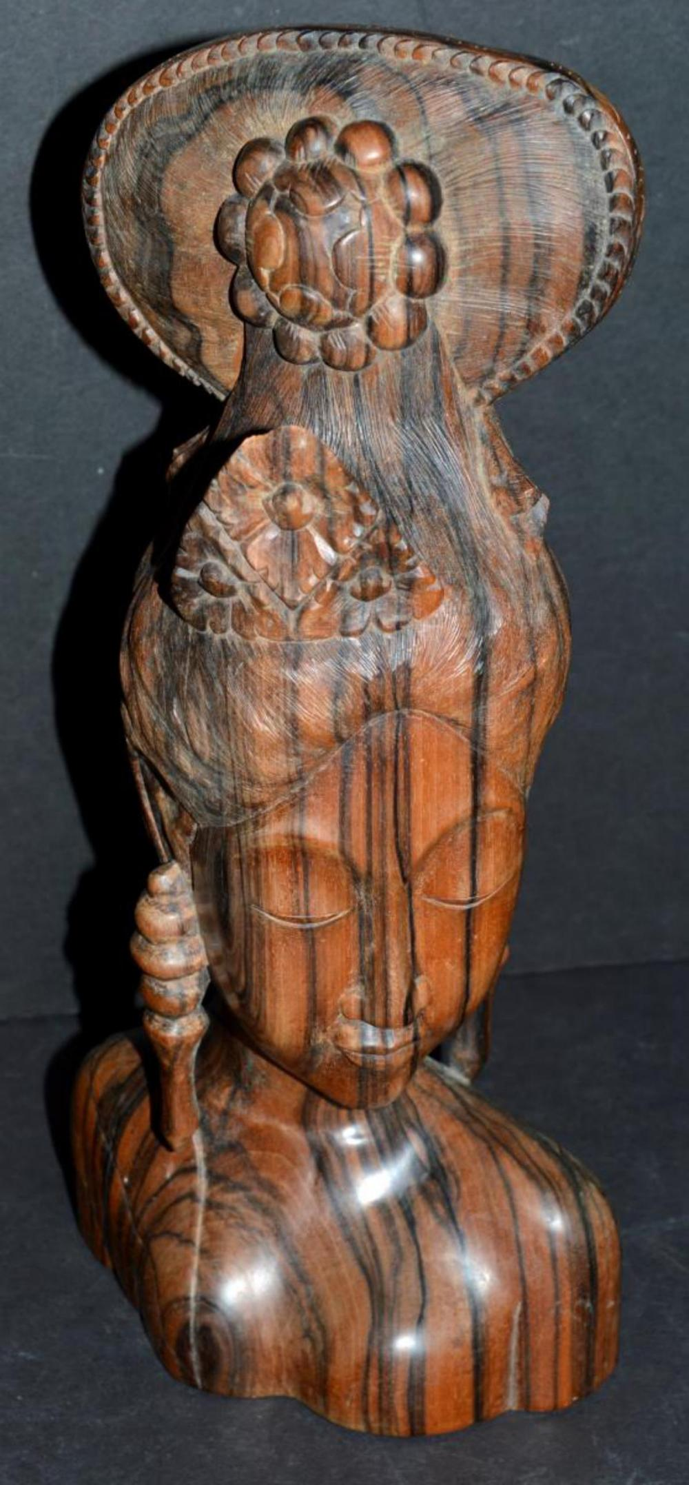 Carved Zebra or Olive Wood Bust of Balinese Woman