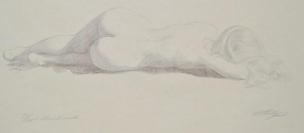 """Lot 76: """"Round Nude"""" Etching by Sheldon (Shelley) Fink"""