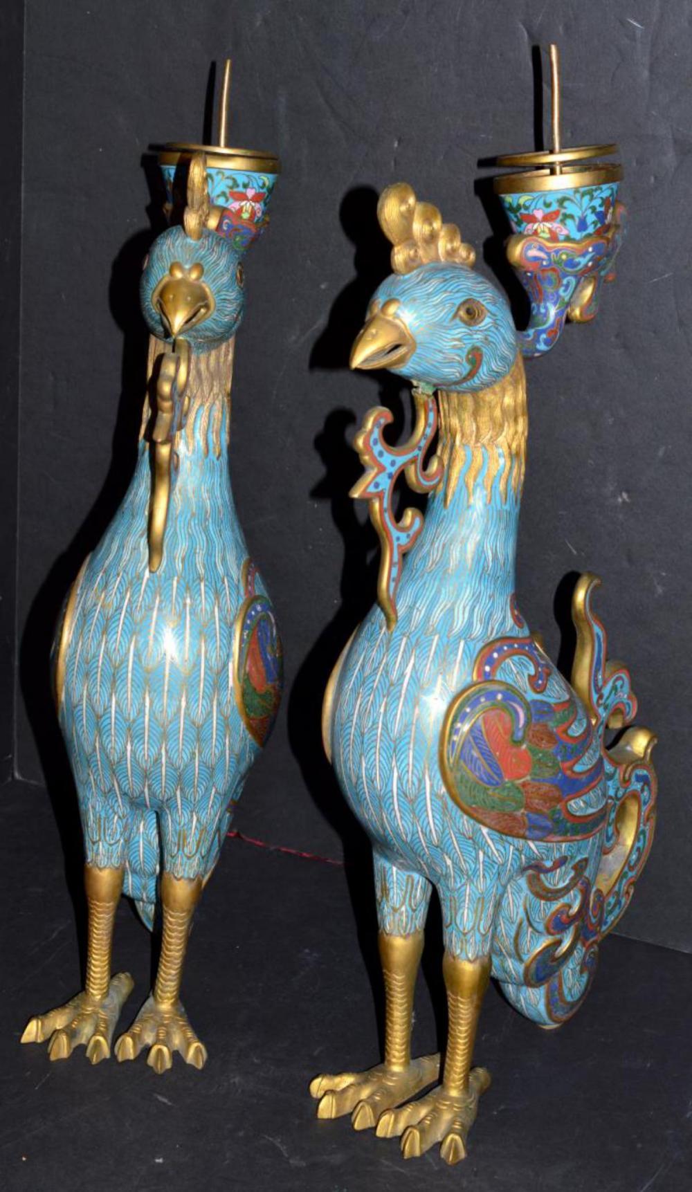 Cloisonne Censer Candle Holder Phoenix Birds
