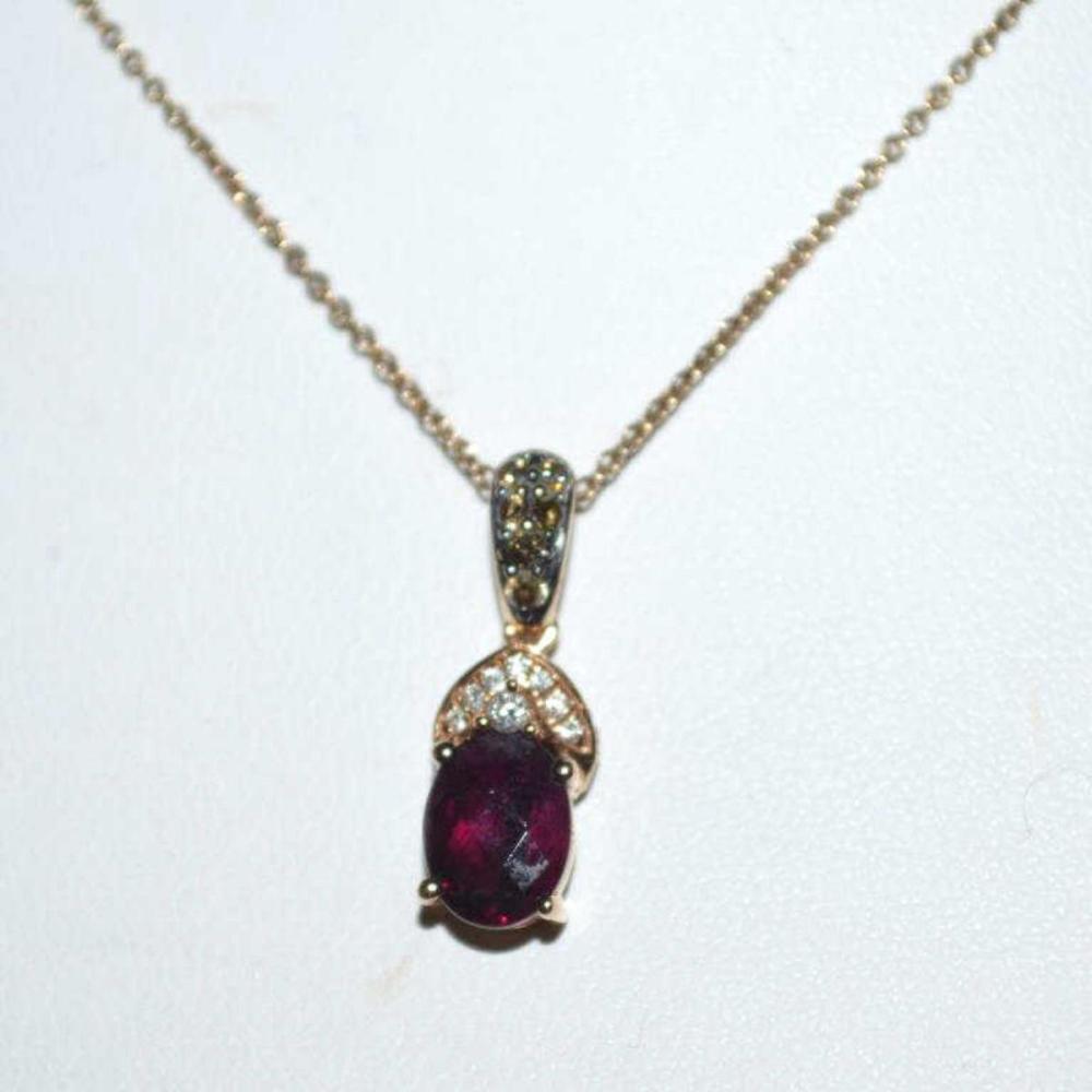 14kt rose Levian Rhodolite and diamond pendant