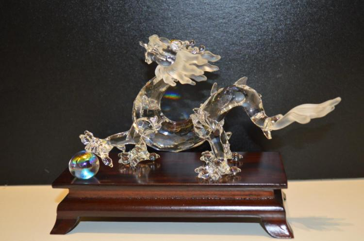 Swarovski Crystal Dragon Crystal Ball Box Stand