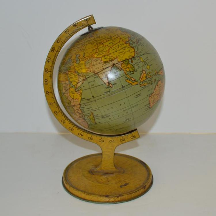 Vintage J. Chein Tin World Globe