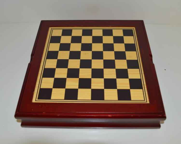Wooden box with table games