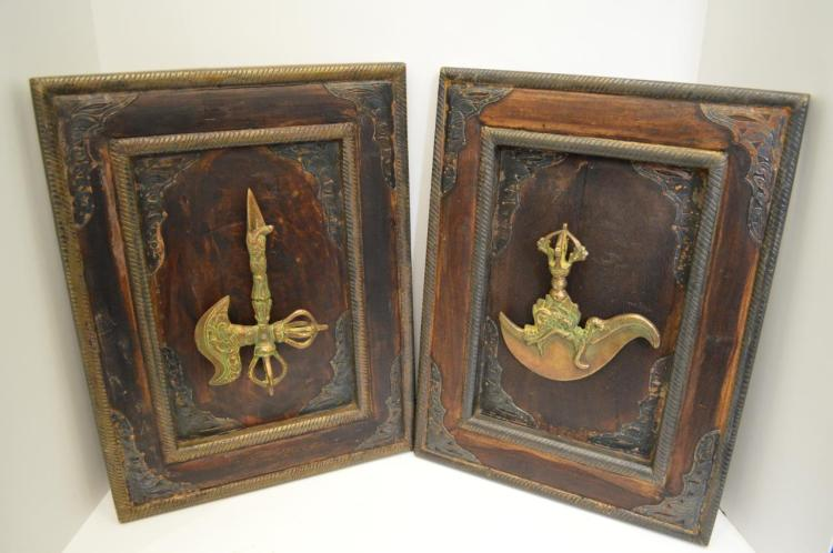Pair Of Replica Weapons On Frames
