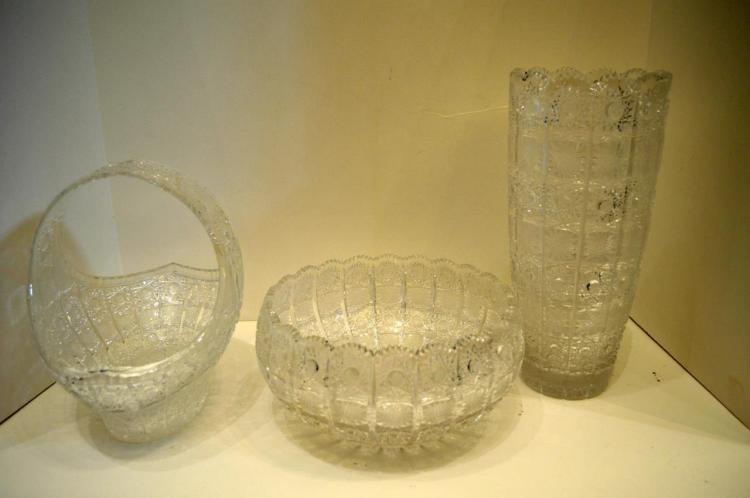 Three Pieces Of Cut Crystal