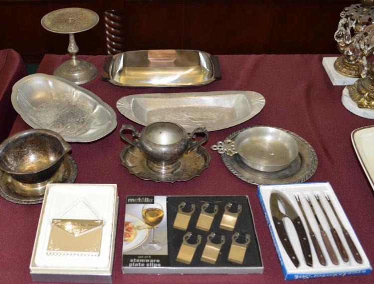Lot of silver plate and entertaining pieces