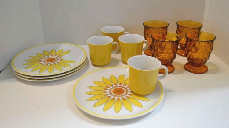Vintage Jonas Roberts Cera Stone yellow brunch set