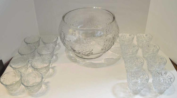 Glass punch bowl and 27 glasses