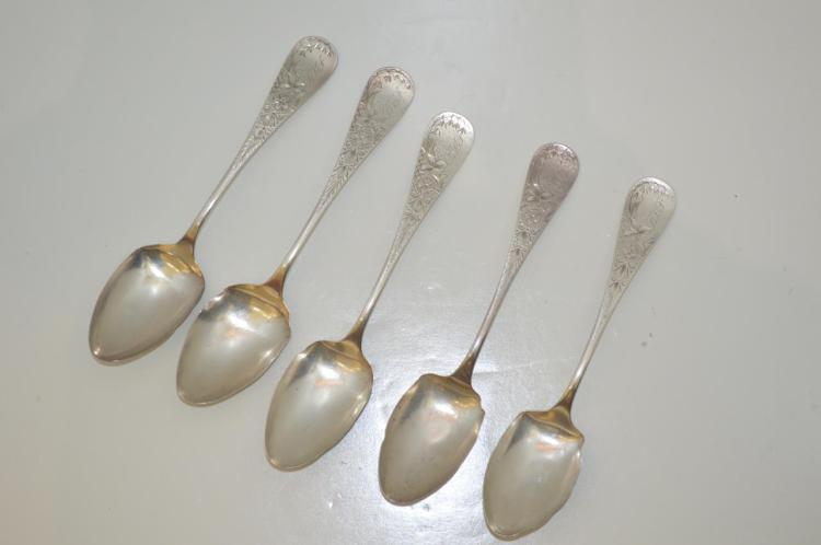 Five Whiting Sterling Silver Spoons, Antique Lily