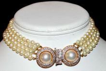 4 Strand Mikimoto pearl With Diamond Clasp