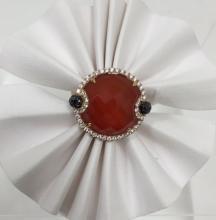 18K Rose Red Agate/Diamond Ring