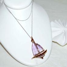 14kyg Sailboat Charm with Amethyst