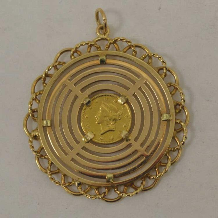 1853 1 liberty gold dollar coin pendant for Gulf coast coin and jewelry