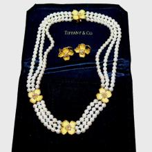Tiffany Pearl Necklace & Earrings With Dogwoods