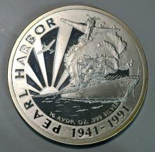 1991 Pearl Harbor PR Silver Round 14.5 toz. ASW