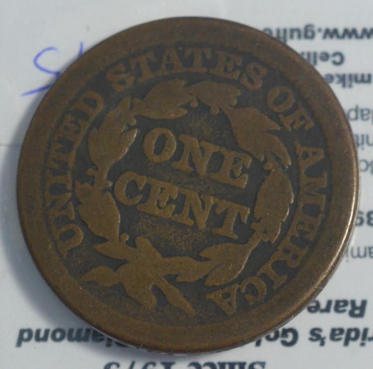 1849 large cent vg for Gulf coast coin and jewelry