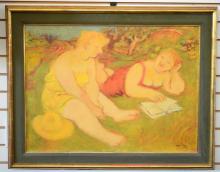 "Original Maurice Savin ""Two Women"" Oil on Canvas"