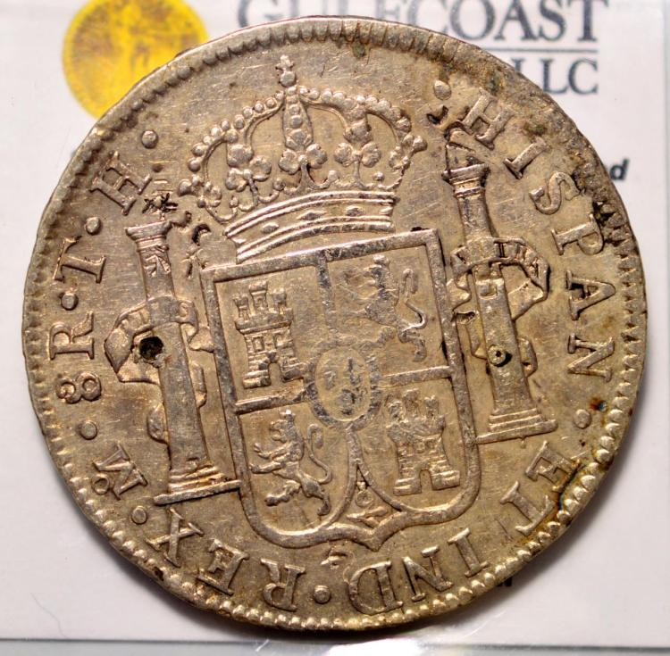 1808mo th mexico 8r vf details chopmarks for Gulf coast coin and jewelry