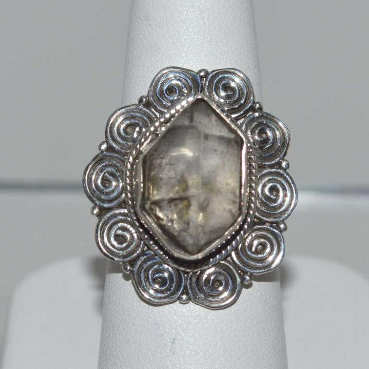Sterling silver herkimer diamond ring for Gulf coast coin and jewelry
