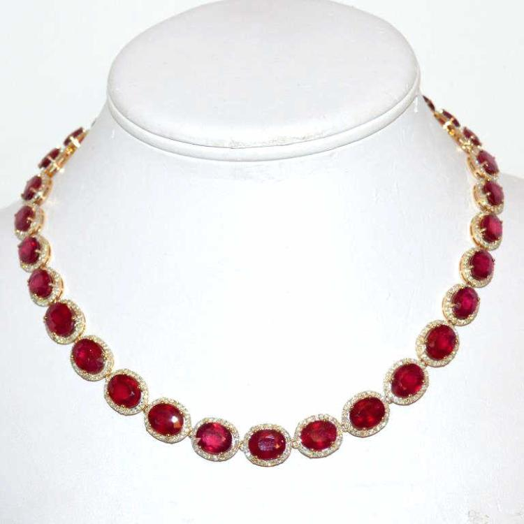 14kyg ruby diamond necklace 88ctw for Gulf coast coin and jewelry