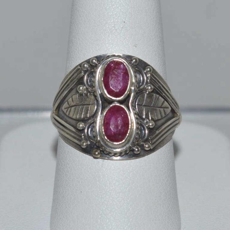 Sterling silver opaque ruby ring for Gulf coast coin and jewelry