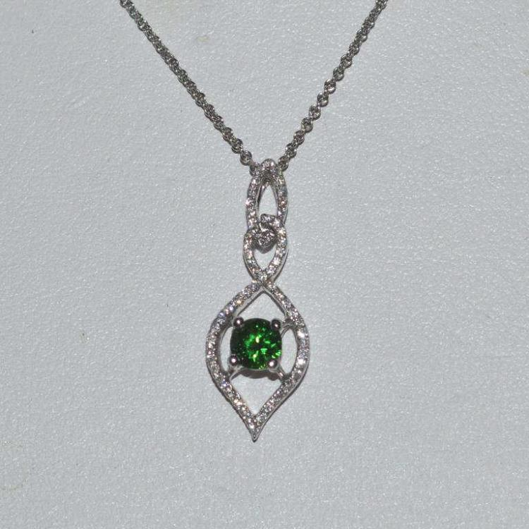 18kt white gold tourmaline and diamond pendant for Gulf coast coin and jewelry